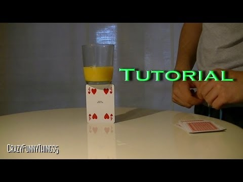 tutorial equilibrio bicchiere - magia con le carte