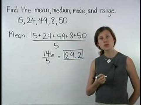 range - For a complete lesson on central tendency, or mean median mode range, go to http://www.MathHelp.com - 1000+ online math lessons featuring a personal math tea...