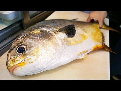 Japanese Street Food - GIANT GOLDEN POMFRET Butterfish Sashimi Okinawa Seafood Japan_Legjobb videók: Utazás, itt nem kell repülőjegy