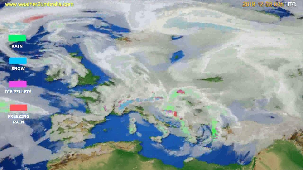 Precipitation forecast Europe // modelrun: 00h UTC 2019-12-22