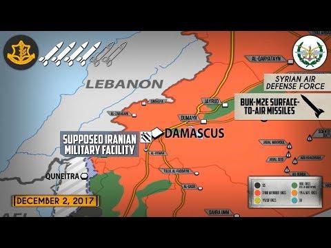 4 декабря 2017. Военная обстановка в Сирии. Новые ракетные удары Израиля возле столицы Сирии.