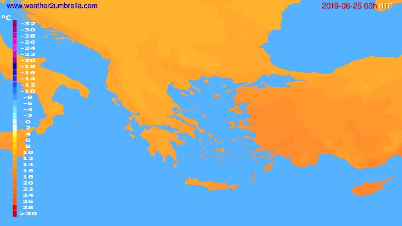 Temperature forecast Greece // modelrun: 00h UTC 2019-06-22
