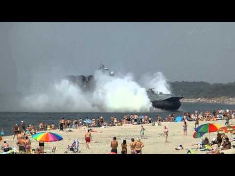 Giant Military Hovercraft Unexpectedly Lands on Crowded Russian
