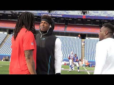 Panthers' Cam Newton shares words with Bills' Kelvin Benjamin