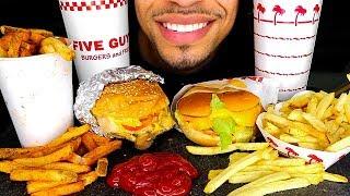 ASMR IN N OUT VS FIVE GUYS MUKBANG | GRILLED CHEESE FRIES VEGGIE BURGERS CAJUN FRIES EATING REVIEW