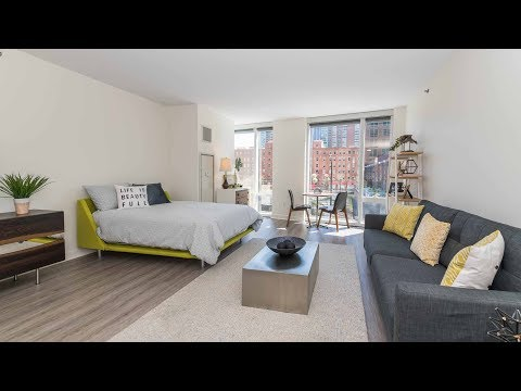 A bright, spacious studio model at Streeterville's new Moment apartments