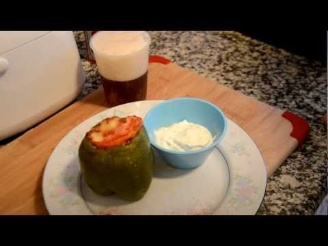 organic bell pepper stuffed with vegetable and rice