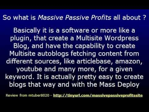 Video: Massive Passive Profits Reloaded – a clever Creation of many Sites on Autopilot makes Money