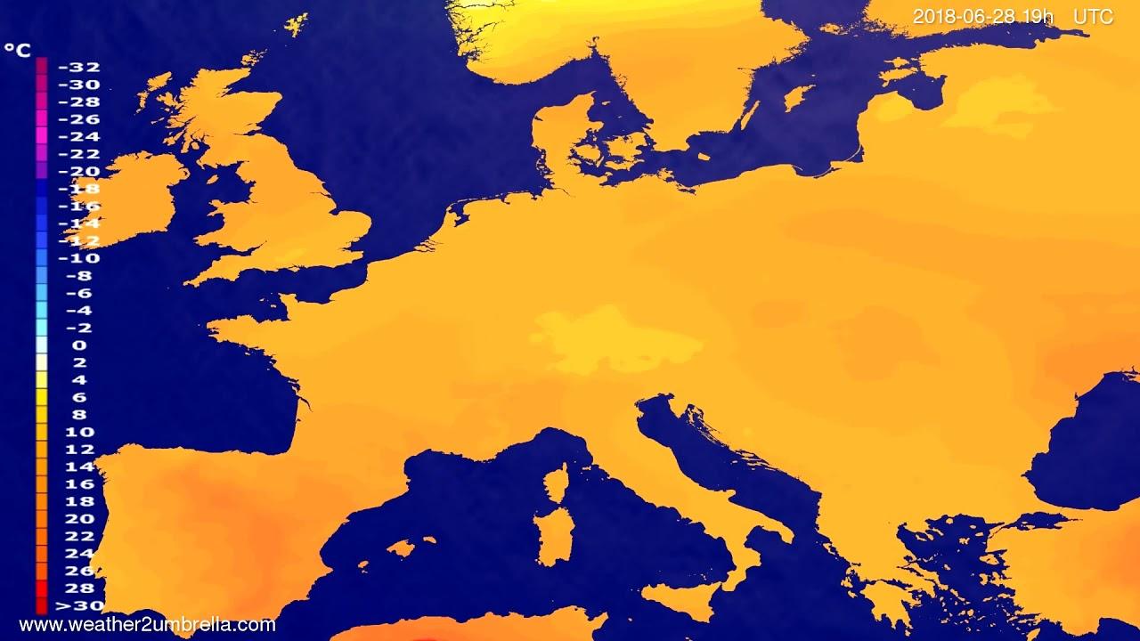 Temperature forecast Europe 2018-06-26