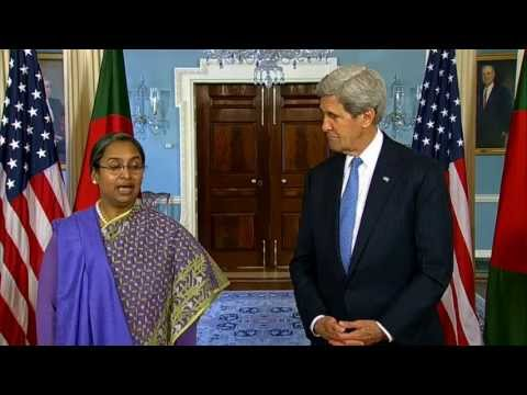 minister - U.S. Secretary of State John Kerry delivers remarks with Bangladeshi Foreign Minister Dipu Moni at the U.S. Department of State in Washington, DC on May 17, ...