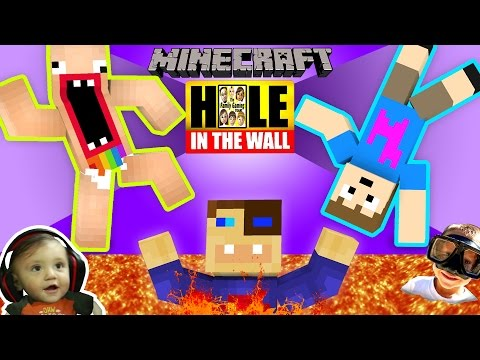 MINECRAFT Hole in the Wall MINI-GAME! w/ FGTEEV Shawn, Duddy & Chase (SUPER CHALLENGE) (видео)