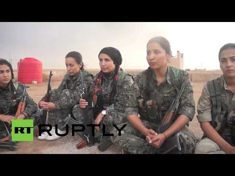 ready - Kurdish women are taking part in military drills close to Kobani, after signing up to fight for the Kurdish Peoples' Protection Unit (YPG) against the self-proclaimed Islamic State (IS, formally...