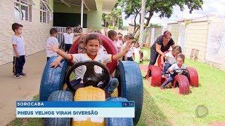 Projeto reaproveita pneus e ensina educação ambiental a crianças