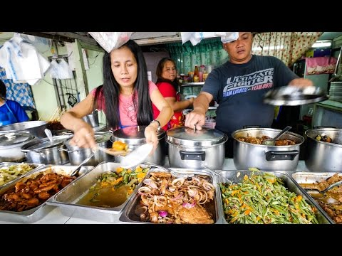Philippines Street Food - AMAZING Filipino Food At Aling Sosing's Carinderia In Manila!