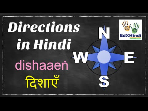 LEARN HINDI - How To Say 4 Directions In Hindi East,West,North,South - Animation