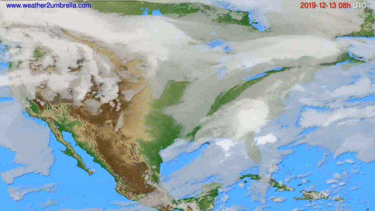 Cloud forecast USA & Canada // modelrun: 12h UTC 2019-12-12