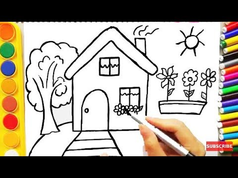 Drawing House for Learning Colors and Coloring Pages a Dog for Kids