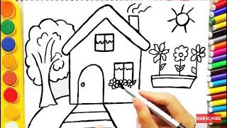 Video Drawing House for Learning Colors and Coloring Pages a Dog for Kids MP3, 3GP, MP4, WEBM, AVI, FLV Juni 2017