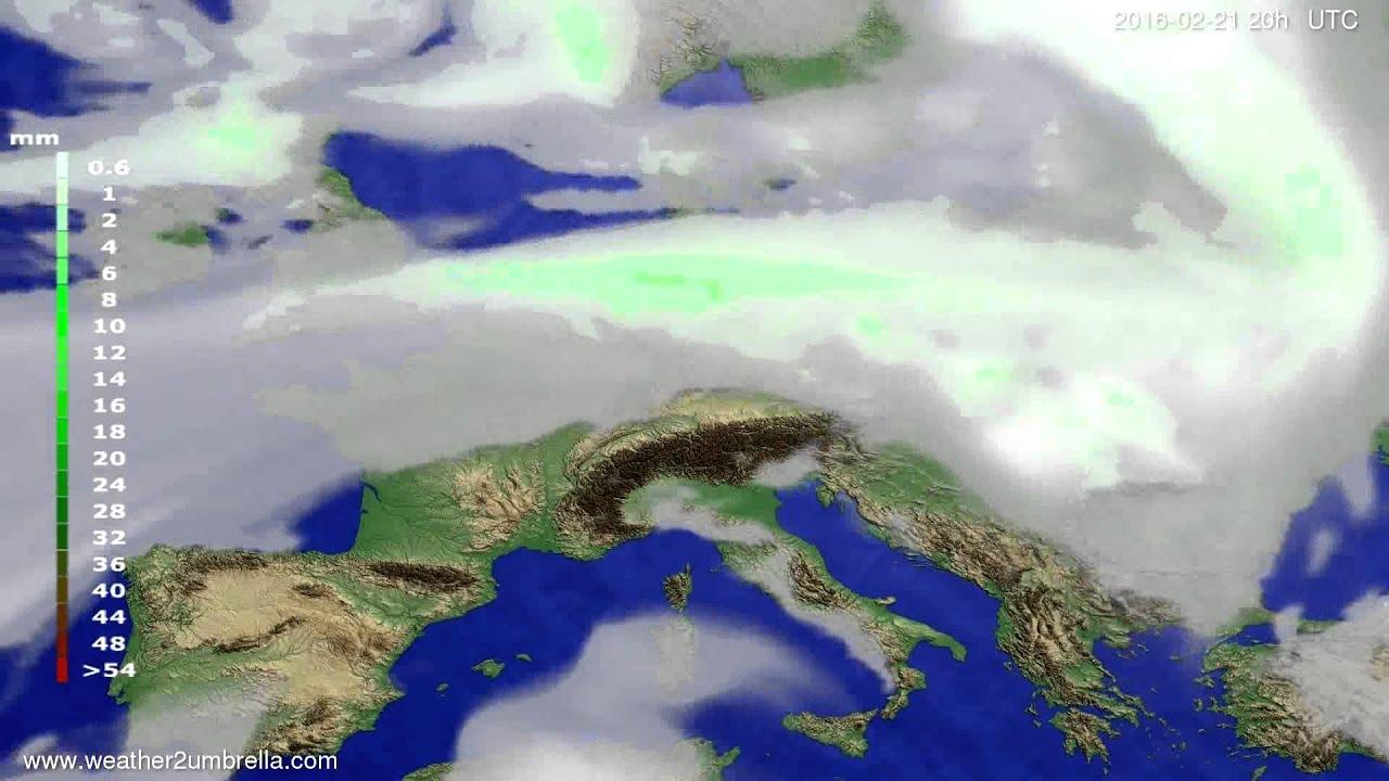 Precipitation forecast Europe 2016-02-19