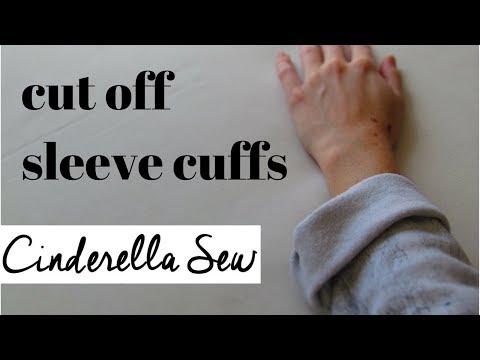 Cut off sleeve cuffs - Cut off wrist bands on sweat shirt - Remove cuff of sweater sleeve