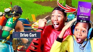 9 YEAR OLD BROTHER RIDING SHOPPING CART In FORTNITE (INSANE)