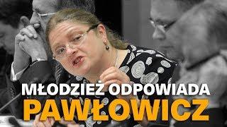 Młodzież odpowiada Krystynie Pawłowicz.