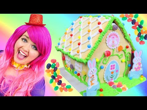 Decorating Easter Bunny Cookie House | DIY Candy Sugar Cookie House | KiMMi THE CLOWN