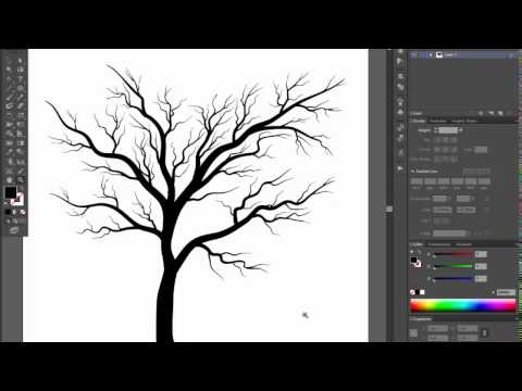 🌳🌳🌳Bare Tree - Adobe Illustrator Cs6 Tutorial. Quick And Easy Way How To Draw Black Silhouette Tree