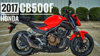 2. 2017 Honda CB500F Review of Specs | Naked Sport Bike / Motorcycle Walk-Around Video (500cc) | Red