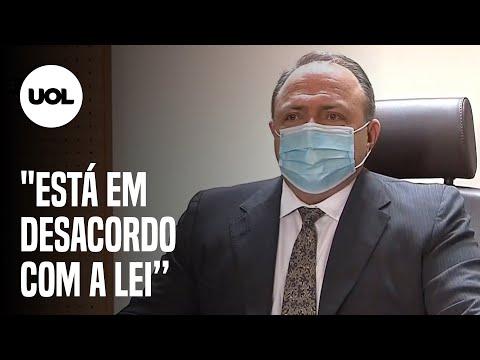 """Pazuello ataca Doria após primeira vacina: """"Está em desacordo com a lei"""""""