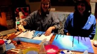 Uncorked Paint Night - painting by the fire!