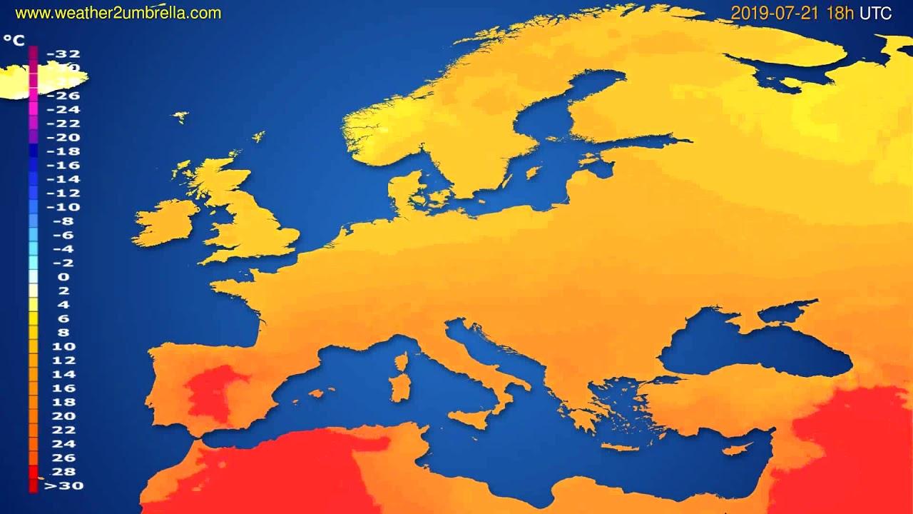 Temperature forecast Europe // modelrun: 00h UTC 2019-07-19