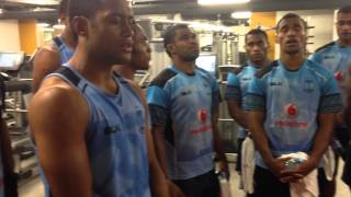 The amazing Fiji Rugby 7s Squad singing a traditional thank you song after training at London Performance Gym, City Athletic. Fiji are in town for the IRB World ...