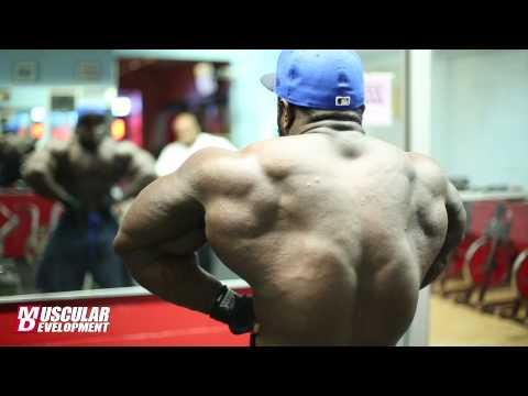 IFBB - NPC competitor Akim Williams trains back and biceps in preparation for the 2013 IFBB North Americans.