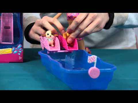 Prezentacja - Swim and Race Pups Playset / Zawody Pływackie Piesków - Barbie - Mattel -