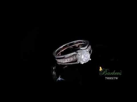 White & Rose Gold Bridal Set - 7988STW