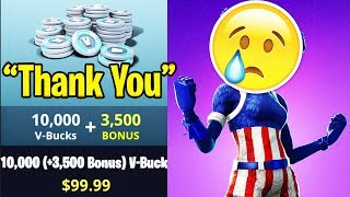 GIVING KID $100 VBUCKS IN FORTNITE BATTLE ROYALE!!!!