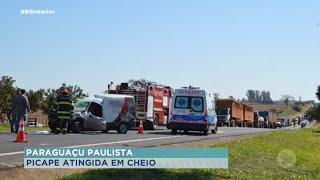 Acidente entre caminhonete e furgão em Paraguaçu Paulista