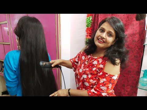 Hair cutting - Seema Jaitly Live Free Online Beauty Parlour Course(training)Hair straight  kaise kare