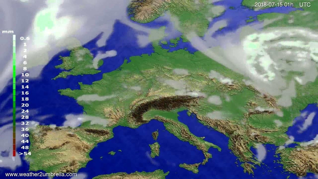 Precipitation forecast Europe 2018-07-12