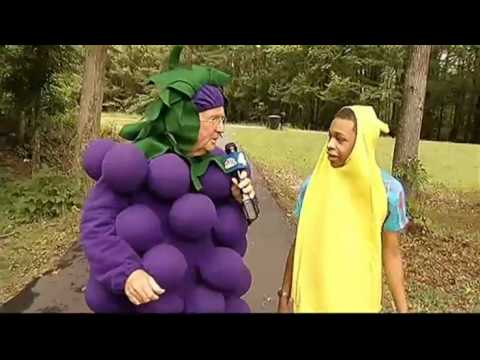 Pat Collins Dons Grape Costume To Interview Banana Man
