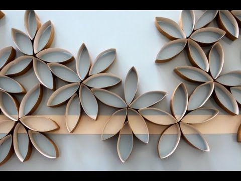 Flowers - How to make paper flowers using toilet paper rolls. Makes great wall art.