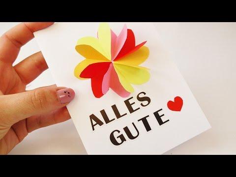 DIY 3D Geburtstags Karte mit Blume & Herzen   Super schöne Karte selber machen   Überraschung