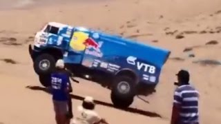 These are all video clips from fans along the route of the 2014 Dakar Rally. The huge Red Bull trucks are from the Russian Kamaz ...