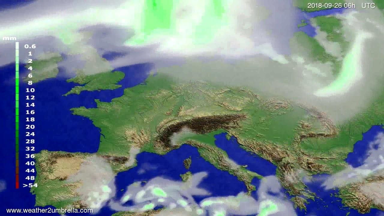 Precipitation forecast Europe 2018-09-22