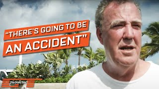 Behind the scenes footage of The Grand Tour filming in Barbados featuring Jeremy Clarkson talking about the impending accident - we're just not sure what typ...