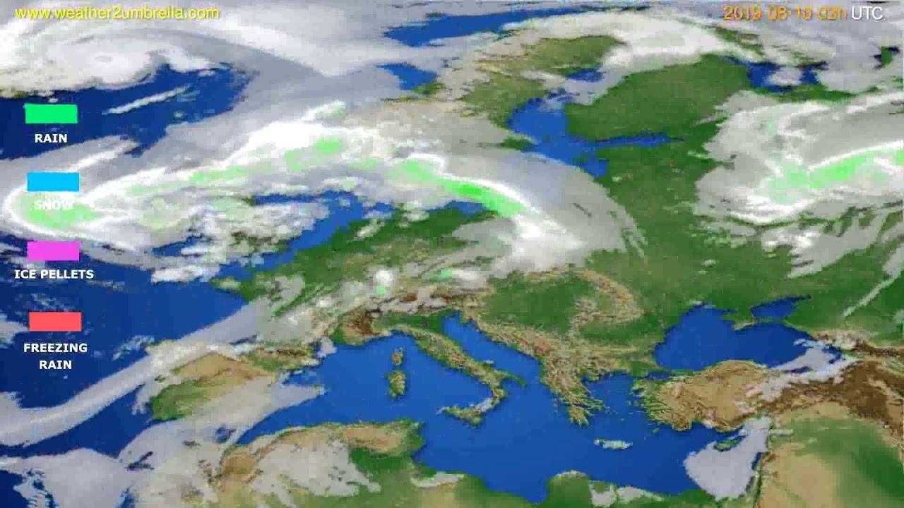 Precipitation forecast Europe // modelrun: 00h UTC 2019-08-07