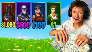 RANDOM RARE SKIN *MONEY* CHALLENGE in Fortnite Battle Royale ($10,000)