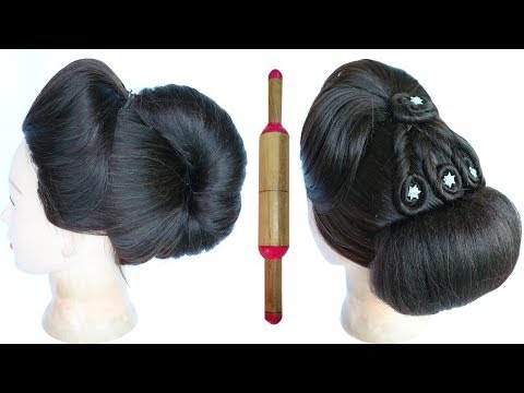 Curly hairstyles - french roll with help of belan  french bun with puff  french twist  easy hairstyles  hairstyle