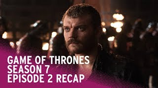 From Daenerys summoning Jon Snow to Euron's high seas slaughter and Sam's adventures in Old Town, team RadioTimes.com take a look back at what happened in season 7 episode 2 - and a look ahead to what's coming in episode 3.Featuring special guest Visarahion the dragon.